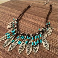 Feather Native Necklace Feathers Necklace Turquoise Bib Necklace Statement…