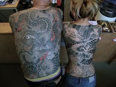His and hers Japanese style dragon tattoo back pieces