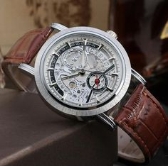 Fashion Cool Military Automatic Skeleton Brown Leather Cheap Watches For Men-Forsining Watch Company Limited www.forsining.com