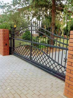 Shop huge inventory of Wrought Iron Gates. Get your free quo. Shop huge inventory of Wrought Iron Gates. Get your free quo.- Shop huge inventory of Wrought Iron Gates. Steel Gate Design, Iron Gate Design, House Gate Design, Fence Design, Aluminum Driveway Gates, Wrought Iron Driveway Gates, Driveway Entrance, Metal Gates, Tor Design