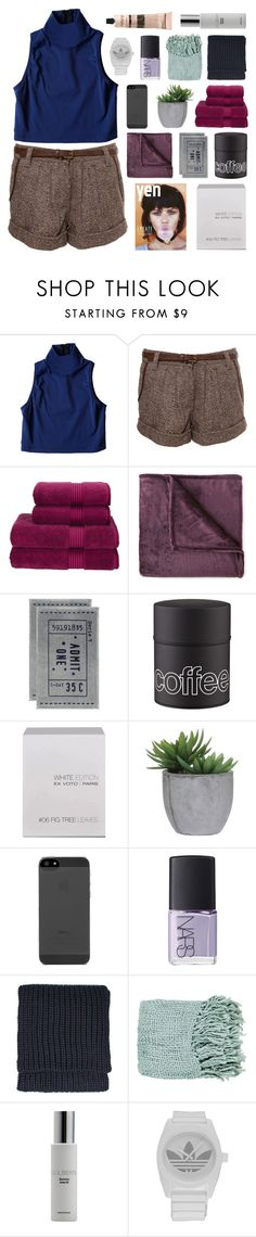 """body electric"" by british-mints ❤ liked on Polyvore featuring Christy, JCPenney Home, H&M, Ex Voto Paris, Lux-Art Silks, NARS Cosmetics, Topshop, Surya, Colbert MD and adidas"