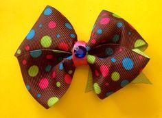 Brown polka dot boutique bow