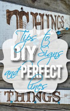 Tips to DIY signs and perfect lines - cheaply on hertoolbelt.com  Painters tape, exacto knife and printed letters