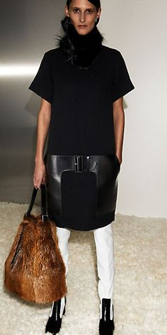 Céline Fall 2012: BLACK WOOL AND LEATHER DRESS, CASTORINO FUR COLLAR, SEAU IN CASTORINO NATURAL, 60'S BOOTS THIGH HIGH IN BLACK AND WHITE NAPPA LAMBSKIN,