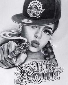 Gangsta Tattoos, Badass Tattoos, Body Art Tattoos, Cholo Art, Chicano Art, Chicanas Tattoo, Tattoo Drawings, Bandana Tattoo, Tattoed Women