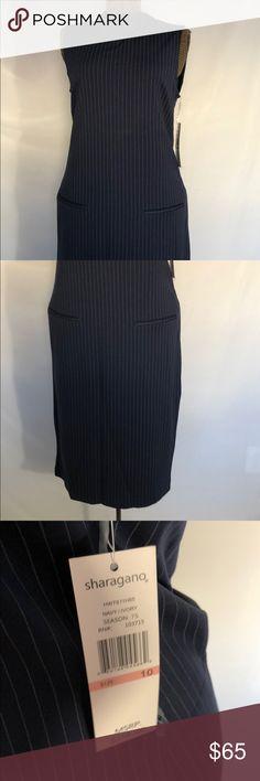 "Sharagano Pinstripe Dress Shoulder to hem 44"" Decorative pocket detail - not a pocket  Navy pinstripe Sharagano Dresses"