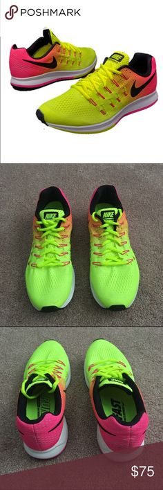 Zoom Pegasus 33 Nike Running Shoes Nike Air Zoom Pegasus 33 Nike Sneakers. Worn to the gym twice--LIKE NEW. Neon yellow and pink. Very comfortable with supportive cushioning and shock absorb. Runs slightly small. Comes with original box. Nike Shoes Sneakers