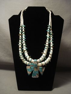Statement Vintage Santo Domingo Turquoise Shell Necklace