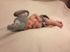 Adorable Baby Elephant hat and diaper cover by Place2BCreations, $24.00