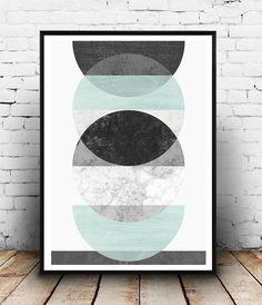 Aquarell abstrakte geometrische Print Marmor drucken von Wallzilla