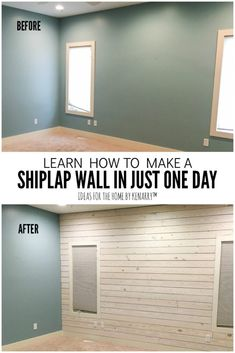 DIY Shiplap Wall Love the look of white washed wood plank accent walls? Learn how to make a DIY shiplap wall to add rustic farmhouse style to your master bedroom, living room, bathroom, or any room! Accent Walls In Living Room, Accent Wall Bedroom, Ship Lap Accent Wall, Master Bedroom Wood Wall, Plank Wall Bedroom, Diy Living Room, Accent Wall Decor, Bedroom Decor, Farmhouse Master Bedroom