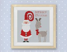 BOGO FREE! Merry Christmas Cross Stitch Pattern, Cute Santa Claus and Christmas Deer cross stitch, Needlework PDF Instant Download #035-5 on Etsy, $4.95