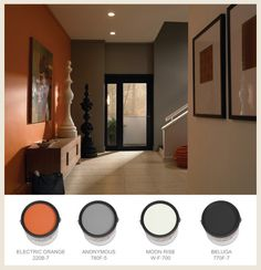 Orange walls, grey and orange living room, orange kitchen walls, orange pai Orange Accent Walls, Grey Orange Bedroom, Grey And Orange Living Room, Orange Kitchen Walls, Accent Wall Colors, Orange Grey, Piece A Vivre, Room Paint, Home Decor