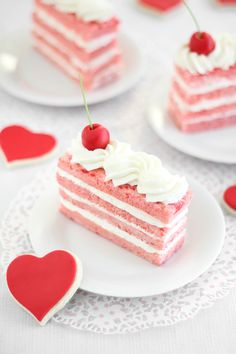 Sprinkle Bakes: Cherry Chip Sponge Cake with Almond Whip #valentinesweets