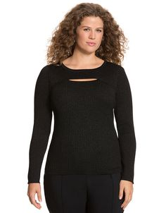 Metallic spliced pullover sweater by Lane Bryant | Lane Bryant