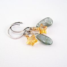 Aquamarine & Citrine Earrings  Sterling Silver by MariStarDesigns, $40.00