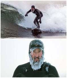 Winter surfing in -13 degrees in Sweden #funny #picture