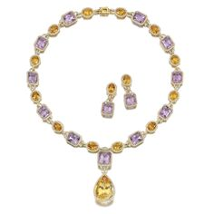 AMETHYST, CITRINE AND DIAMOND DEMI-PARURE The necklace designed as a line of alternating step-cut amethysts and oval citrines, suspending to the front a pear-shaped citrine drop, each stone set within a frame of brilliant-cut diamonds, length approximately 410mm, and a pair of earrings en suite, post and butterfly fittings.
