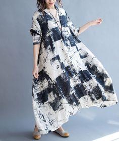QA0 Women's Long Dress Summer Casual Maxi Loose Fit Baggy Skirt 3/4 Sleeve Linen #YFS #Maxi #Casual