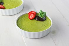 A delightful dessert where basil is the surprising star... Basil Pots de Creme with Strawberry Balsamic Reduction