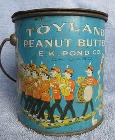 Toyland Brand Peanut Butter Tin Pail Chicago Illinois | eBay