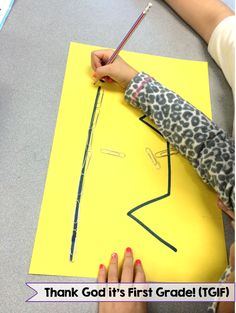 Non-standard measurement! Students predict which line is longer: the straight line or the crooked line. Then, students measure with paper clips and realize the crooked line is longer even though it doesn't appear to be!
