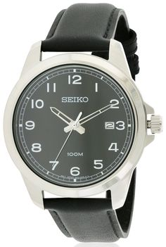 Seiko SUR159 Clearance Sale Men's Black Leather 41MM Quartz Analog Watch