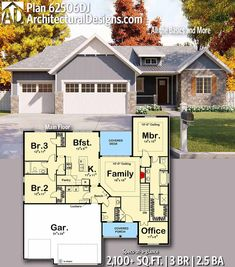 Architectural Designs Home Plan gives you 3 bedrooms, baths and sq. Ranch House Plans, Craftsman House Plans, New House Plans, Dream House Plans, Small House Plans, House Floor Plans, My Dream Home, Craftsman Style, Dream Big