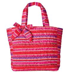 "Avon: Crazy for Quilting Tote Bag $16.99. Lightweight. Folds for storage. Fully lined. Bow accent. Magnetic-snap closure. One zip and two slip interior pockets. Approx 14"" H x 14"" W; handle drop, 8 1/2"". Polyester."