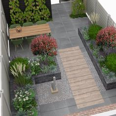 Another great project🏡 Residents want to have their garden elderly-friendly. Another great project🏡 Residents want to have their garden elderly-friendly. I love the cm wood look tiles! Enjoy your evening✨… Back Gardens, Small Gardens, Outdoor Gardens, Backyard Garden Design, Small Garden Design, Backyard Designs, Terrace Garden, Modern Landscaping, Backyard Landscaping