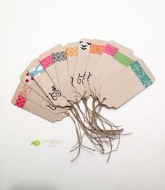 Assorted Gift Tags / Colorful Patterns / Rustic Kraft Paper Gift Tags / By LIMEFISHSHOP on Etsy