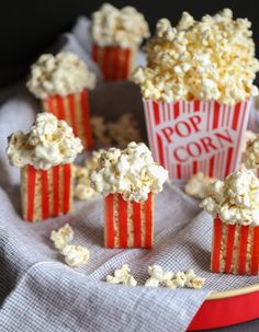 Krispie Treat Popcorns... a simple treat that would be adorable for a movie party!