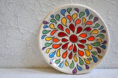 Colorful, Color-burst Bowl - Carved with Rainbow Drops - Ready to Ship