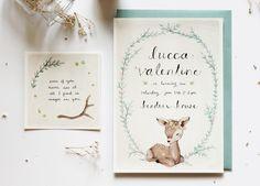 Flora and fauna baby birthday invitation_Kelli Murray