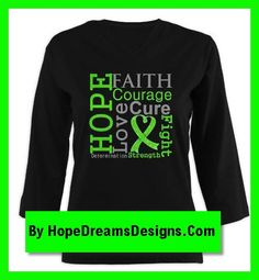Lymphoma Hope, Faith, Courage, Love, Fight, Cure, Determination and Strength cancer advocacy shirts and gifts  by hopedreamsdesigns.com