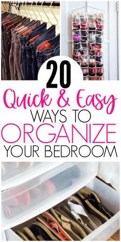 20 Amazing Organization Hacks That Will Transform Your Bedroom - Organization Ob. 20 Amazing Organization Hacks That Will Transform Your Bedroom - Organization Obsesssed Organisation Hacks, Organizing Hacks, Bedroom Organization Diy, Organizing Your Home, Hacks Diy, How To Organize Your Closet, Storage Organization, Clothing Closet Organization, Tank Top Organization