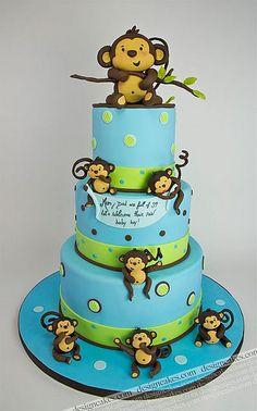 Mod Monkey First Birthday Sheet Cake Serves 30 $35