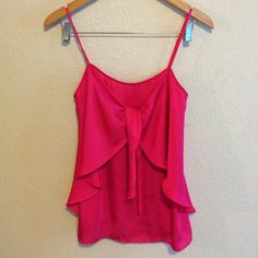 Express Tank Pink tank with tie front and zipper in the back Express Tops Tank Tops