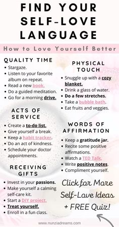 When you think of the term love languages, the first thing that may come to mind is relationships and romance. But finding your self-love language is actually an important factor in your self care routine. Here are some helpful tips and a printable quiz so you can know yours! Positive Self Affirmations, Positive Quotes, Self Care Bullet Journal, Words Of Affirmation, Mental And Emotional Health, Self Care Activities, Self Care Routine, Health Routine, Self Improvement Tips