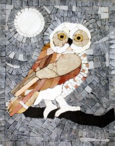 We are Luxury Handcut Animal Themed Marble Mosaic Tile Manufacturer, Shop online or send your own design. We ship our animal themed mosaic tile to worldwide Owl Mosaic, Mosaic Birds, Marble Mosaic, Stone Mosaic, Mosaic Art, Mosaic Glass, Mosaic Rocks, Mosaic Animals, Mosaic Pictures