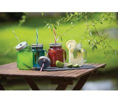 Kitchen Craft - Słoik z uchwytem i słomką. Słoik doskonały do serwowania napojów, koktajli, smoothies, drinków, orzeźwiających soków a nawet zdrowych koktajli śniadaniowych. Do domu, ale przede wszystkim na taras, balkon, do ogródka.
