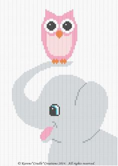 Crochet Patterns - ELEPHANT and OWL Graph/Chart Afghan Pattern ***EASY/BEGINNER