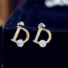 Cool Great The new crystal earbob 18K Gold Diamond Stud Earrings Jewelry A108 D letters  Cool