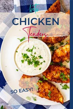 Chicken tenders are not just for picky kids - everyone loves them! These Keto Chicken Tenders are crunchy, juicy perfection, and a fantastic twist on the original. They freeze beautifully, making them perfect for meal prep. Crispy Chicken Tenders, Keto Fried Chicken, Healthy Chicken Dinner, Healthy Chicken Recipes, Lunch Recipes, Real Food Recipes, Dinner Recipes, Free Recipes, Keto Recipes