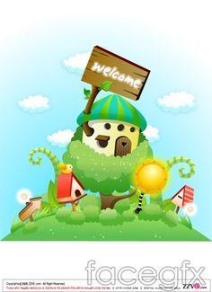 Cute cartoon scene, meadow Mushroom Magic vector
