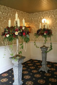 Behind the Registrars table we placed two of our spectacularly opulent Baroque Candelabras on tall pedestal stands, I positioned them in such a way as to frame our Bride & Groom when they came to sign the Register