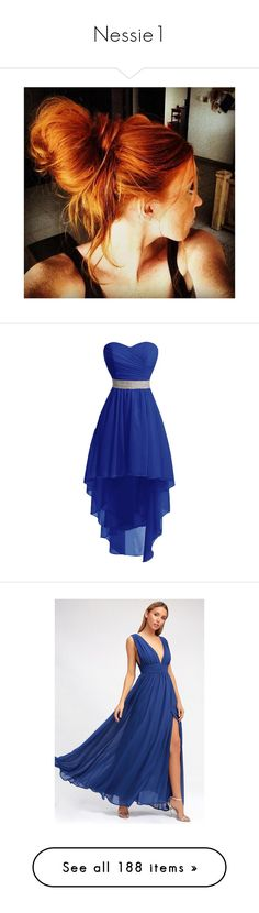 """""""Nessie1"""" by alisha-selleck ❤ liked on Polyvore featuring dresses, blue, high low cocktail dresses, laced dress, high-low dresses, blue prom dresses, blue high low dress, gowns, royal blue evening dress and evening maxi dresses"""