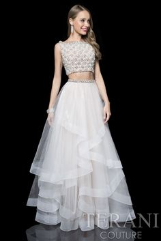 Terani Two Piece Prom Gown With Beading