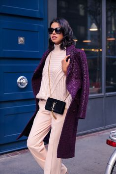 classic sling bag with rose quartz 2017 outfit and purple coat