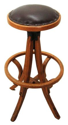 Antique Drafting Stool, American Oak In Brown Leather Circa 1880   The  Stools In Flynt